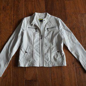 Ashley B Bernardo White Faux Leather Jacket Size M